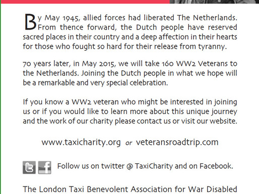 Netherlands 2015: We plan to take 160 WWII veterans to The Netherlands in May 2015