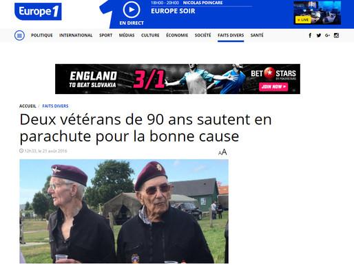 Deux vétérans de 90 ans sautent en parachute pour la bonne cause, Europe 1
