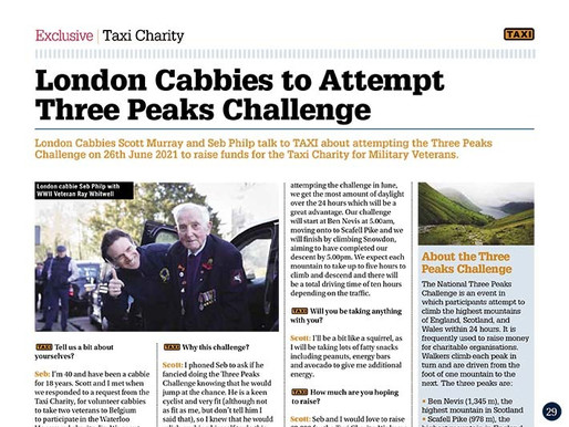 London cabbies to attempt Three Peaks Challenge