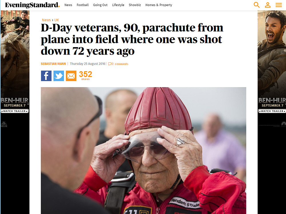 D-Day veterans, 90, parachute from plane into field where one was shot down 72 years ago, Evening Standard