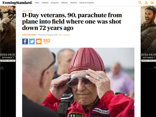 D-Day veterans, 90, parachute from plane into field where one was shot down 72 years ago, Evening St