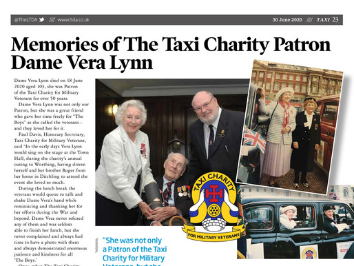 Memories of the Taxi Charity patron, Dame Vera Lynn, TAXI