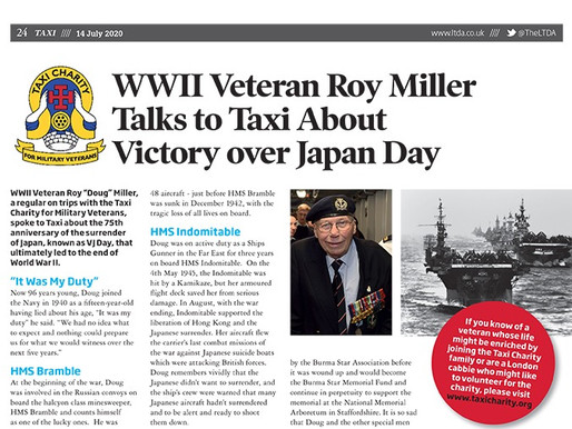 WWII veteran Roy Miller talks to Taxi about Victory Over Japan Day
