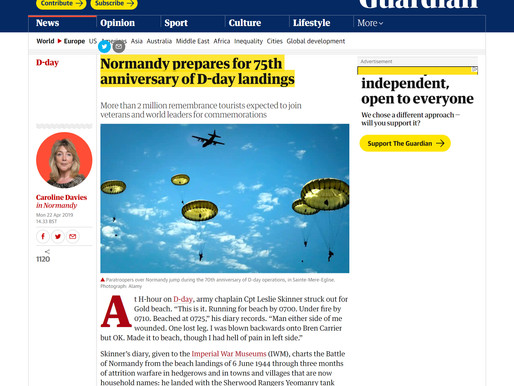 Taxi Charity delighted to be mentioned in Guardian article about D-Day 75th anniversary commemoratio