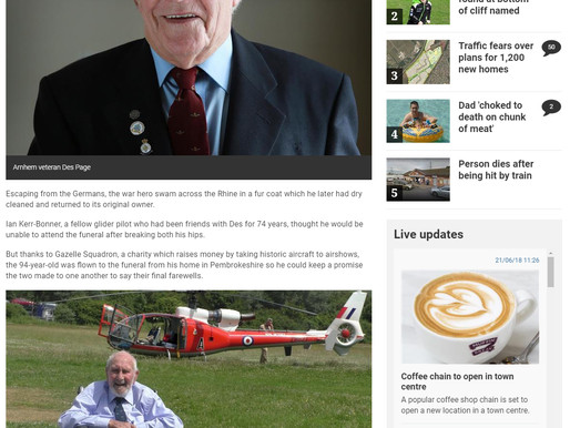 Ian Kerr-Bonner attends Maidstone funeral of World War Two pilot Des Page by helicopter, Kent Online