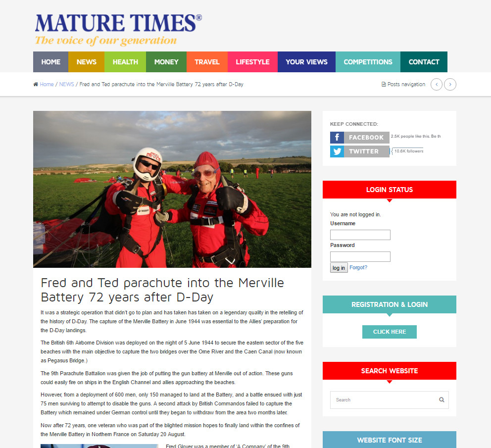 Fred and Ted parachute into the Merville Battery 72 years after D-Day, Mature Times