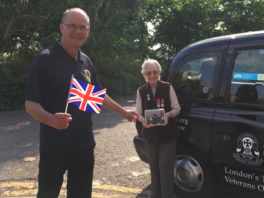 Taxi Charity celebrating VE Day with gifts of 1940s goodies