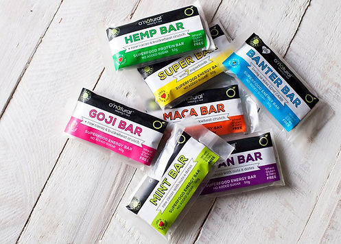 o'natural colourful energy bar pack shot