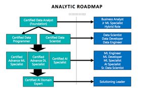 A chart displaying the progression between data analyst to data programmer, data engineer, data specialists and so on, and how different certificates can help individuals get jobs related to data analytics, data science, machine learning and artificial intelligence.