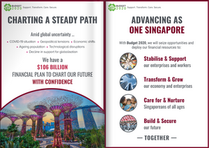 A booklet highlighting Singapore's financial budget for 2020