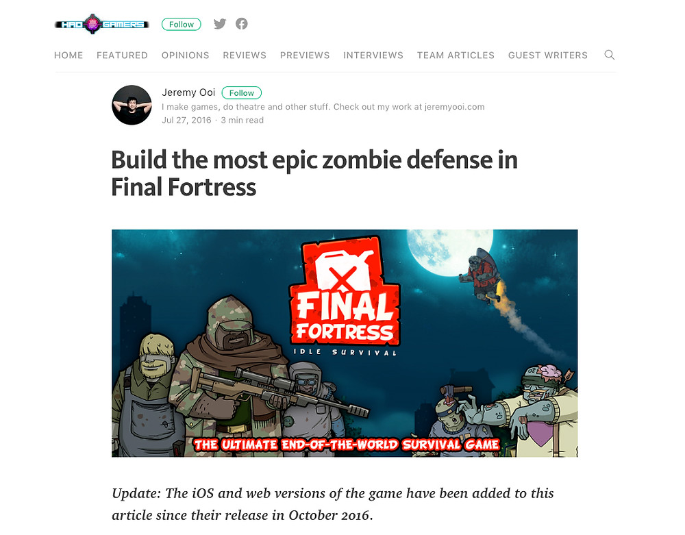 Hao Gamers Review - Build the most epic zombie defense in Final Fortress