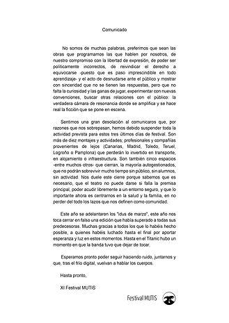 Comunicado MUTIS 2020 Suspensión Festiva