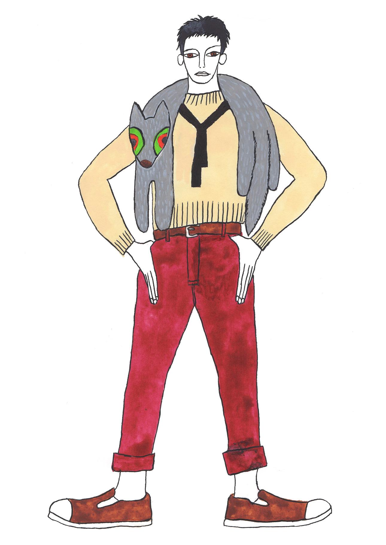 赤いパンツの男_180