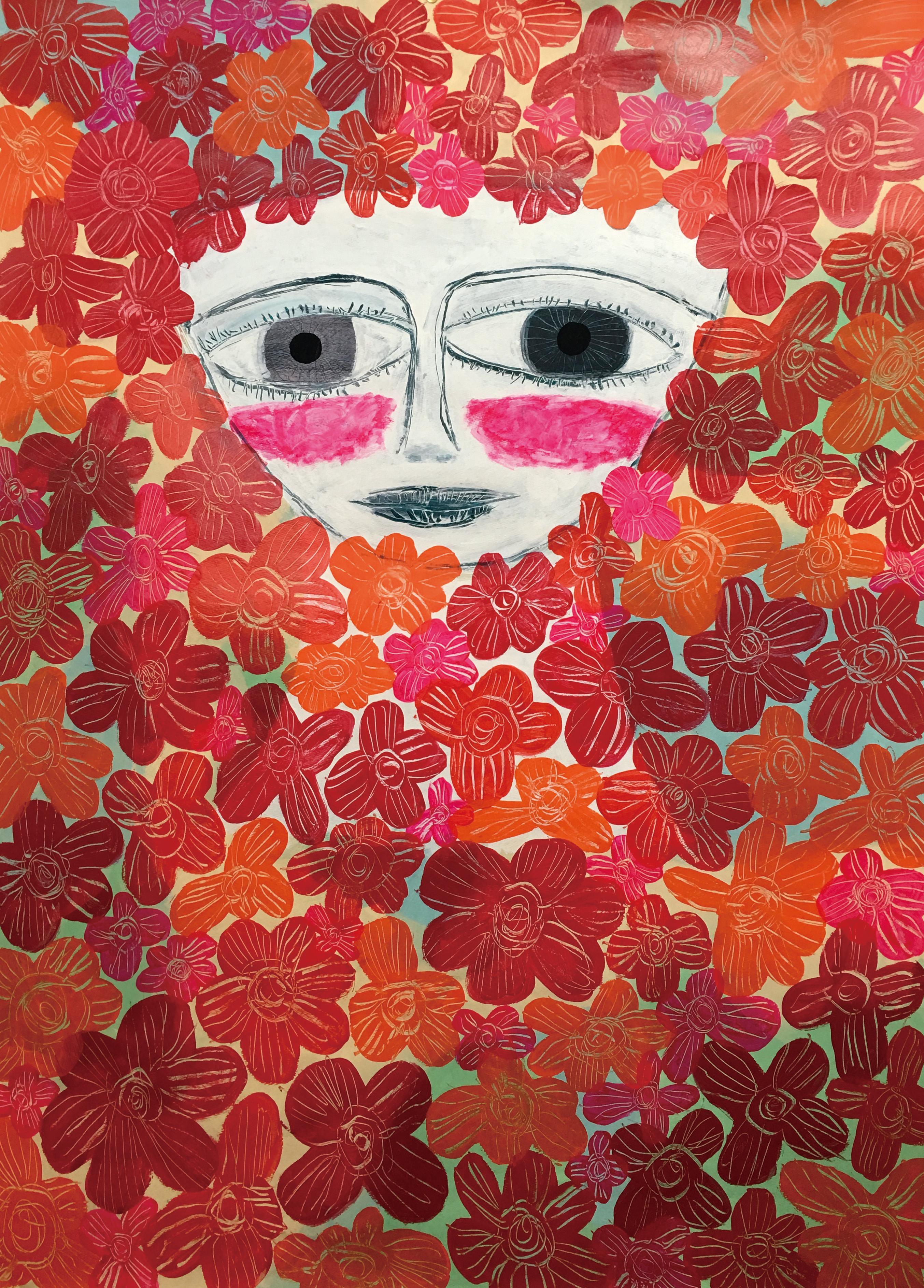 花にまみれた女