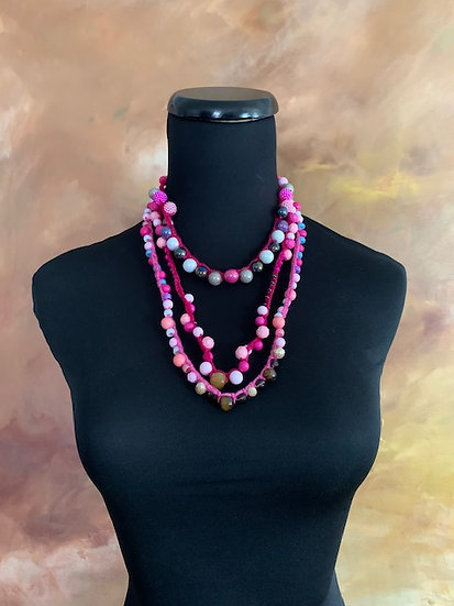 Playful Summertime Pinks! Three Crochet Necklaces