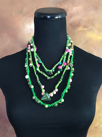Summer Fun with Green! Four crochet necklaces!