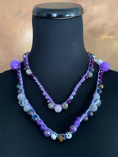 Playful Purples  - 2 beaded crochet necklaces