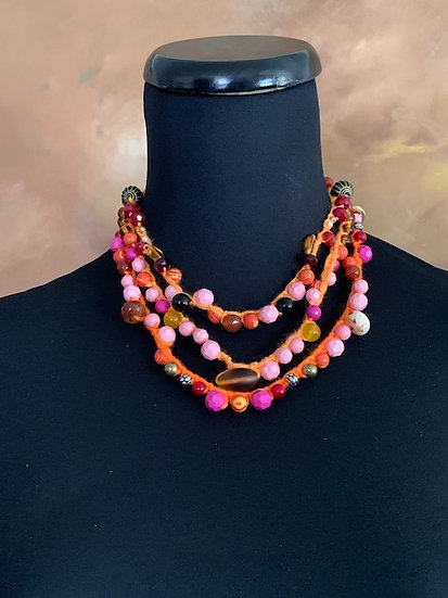 Summer Oranges! Three Crochet Necklaces