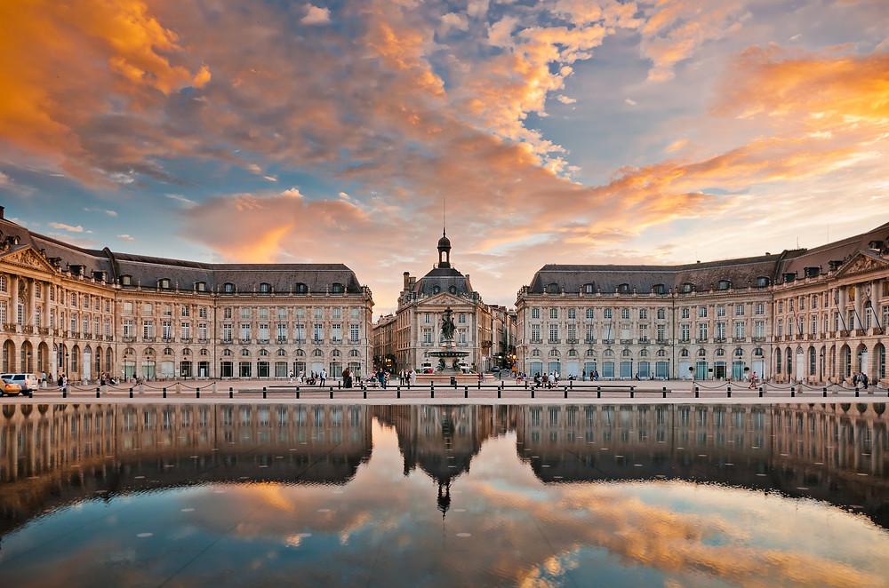 The Water Mirror in Bordeaux, a famous wine growing region in France.