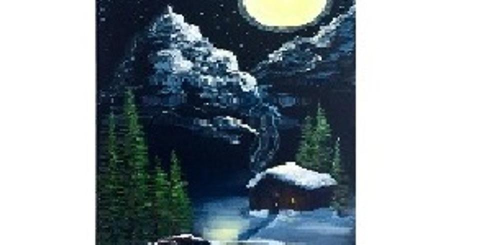 Snowy Cabin, Paint Night