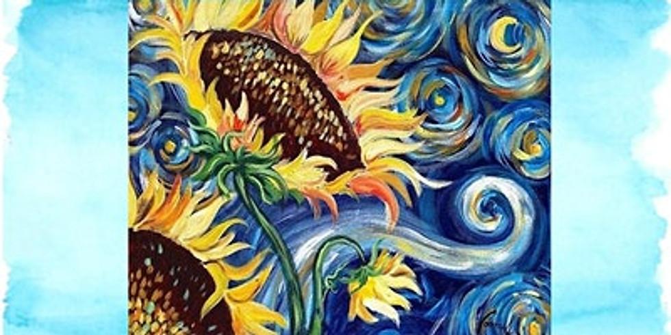 Starry Night Sunflower, Paint Night
