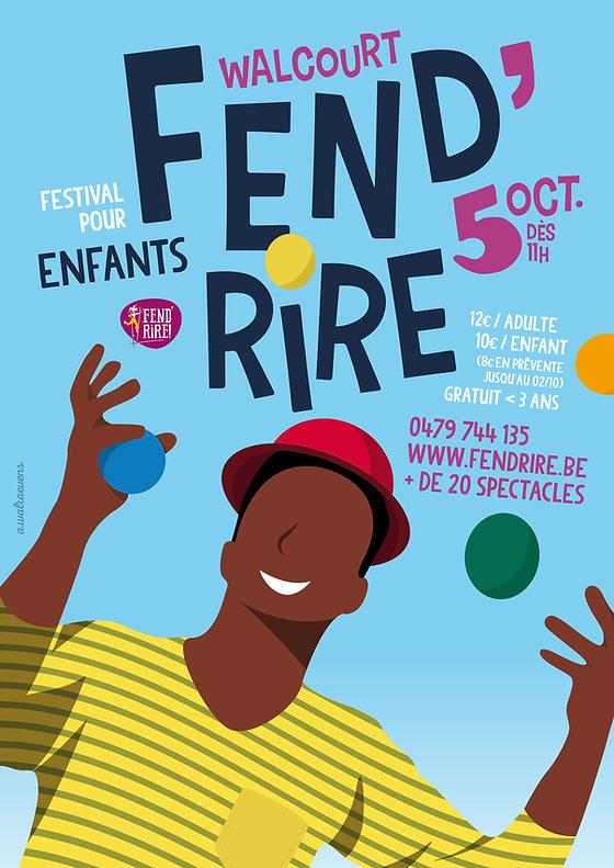 Affiche pour la 8ème édition du festival pour enfants Fend'Rire à Walcourt