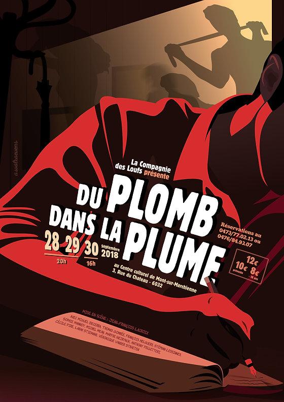 """Affiche de la pièce """"Du plomb dans la plume"""" par Antoine Walraevens"""