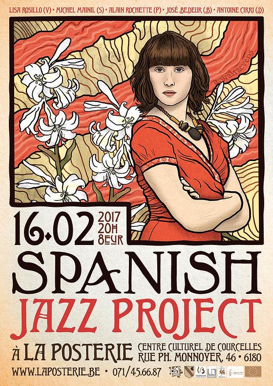 Affiche pour le concert du Spanish Jazz Project - Répertoire espagnol interprété jazz