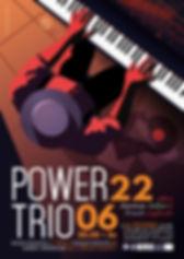 Affiche pour le concert du Power Trio, réinterprétant le répertoire américain, italien et français de façon jazzy