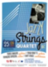 Affiche pour le concert de jazz manouche du Jazzy Strings Quartet