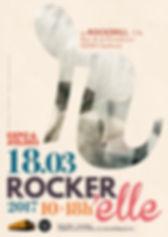 Affiche et flyers pour l'exposition Rocker'elle au Rockerill (Charleroi)