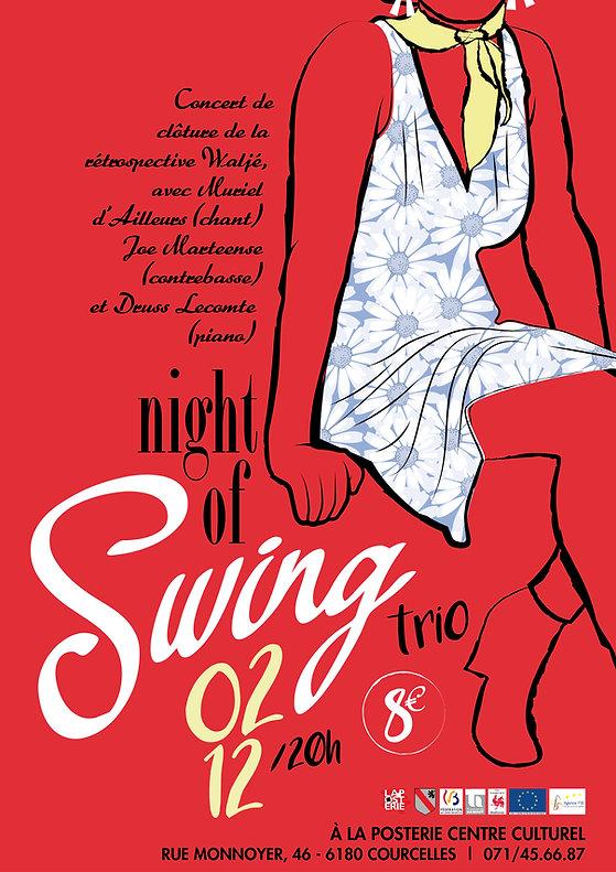 Affiche pour le concert de jazz vocal swing Night Of Swing Trio