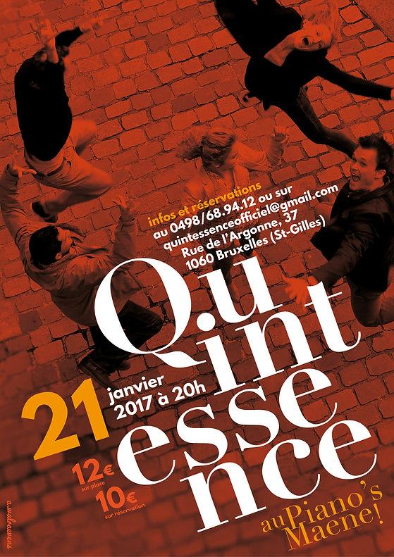 Affiche pour le concert de Quintessence au Piano's Maene
