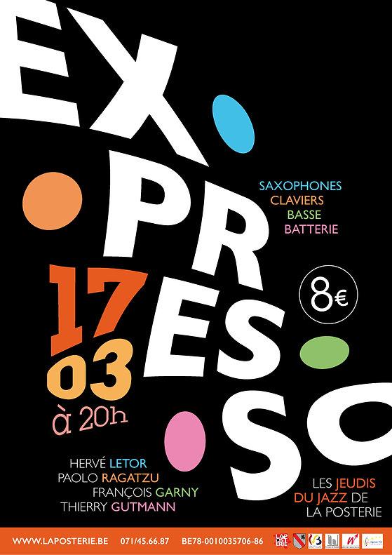 Affiche pour le concert de jazz fusion du groupe EXPRESSO