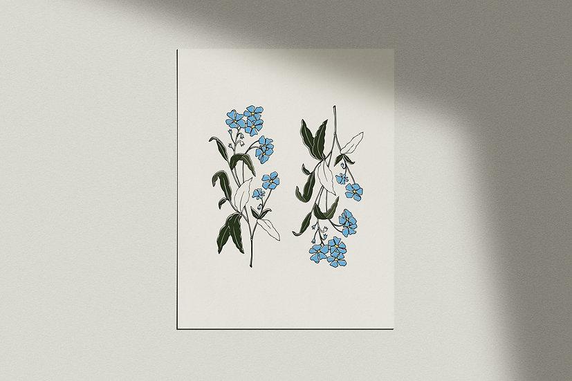 """""""Fleur Bleue Deux"""" Giclée Print"""