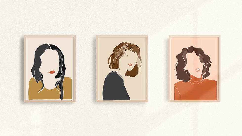 """""""Les Femmes"""" Giclée Print Triptych"""