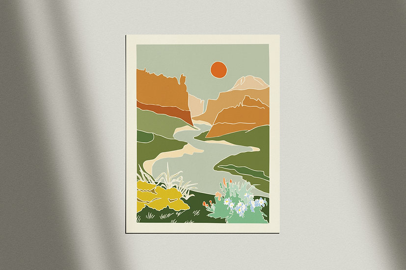 Cache La Poudre Print against a white wall