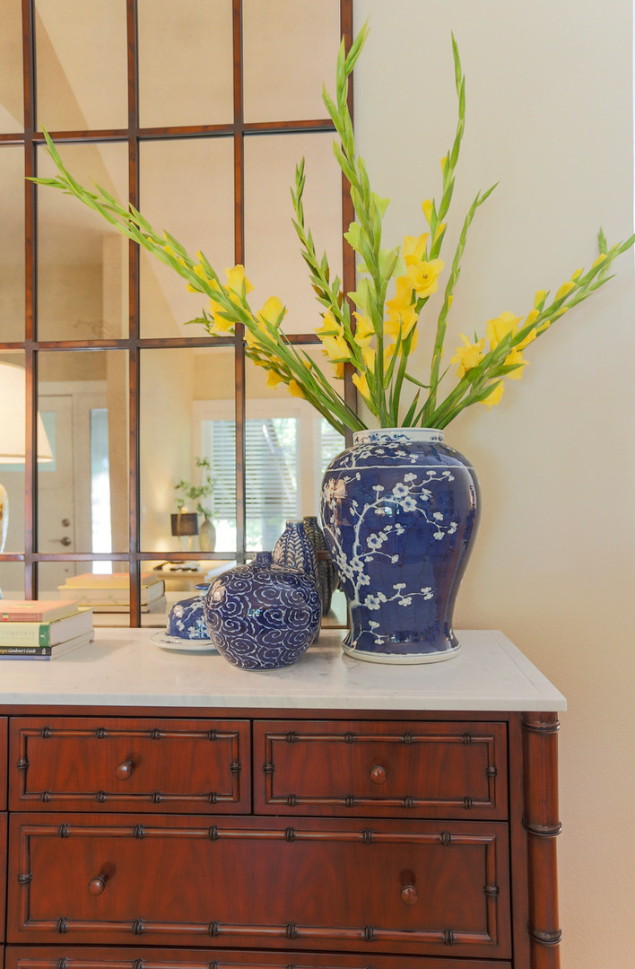 Classic blue white and accents of yellow brings the sunshine in through a mix of new and antique pieces