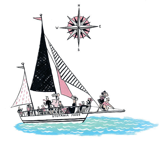 fashion boat party illustration mode