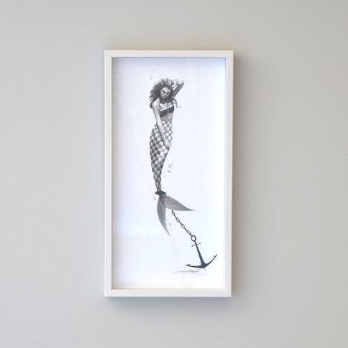 Distress: Anchored Mermaid Framed Print