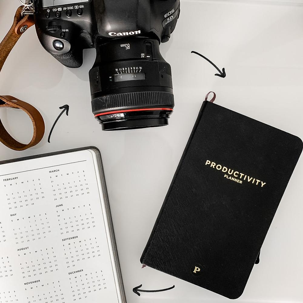 Planner, camera, calendar