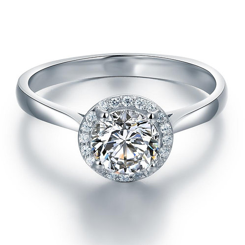 Silver Halo Engagement Ring