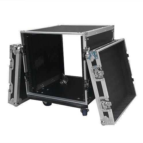 "19"" Single Layer Double Door DJ Cabinet in Black & Silver"