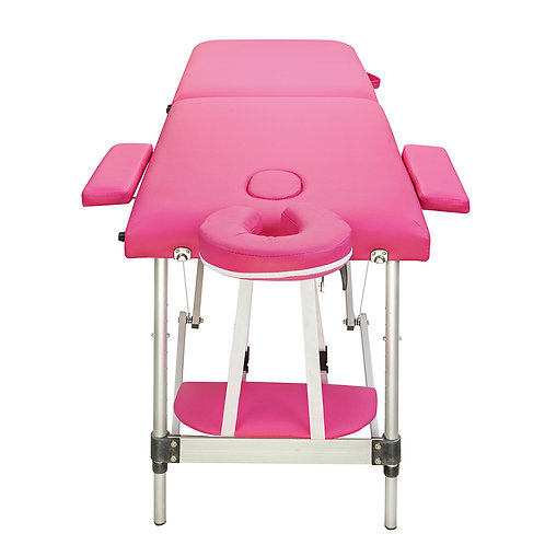 2 Sections Folding Portable Aluminum Massage Table Pink