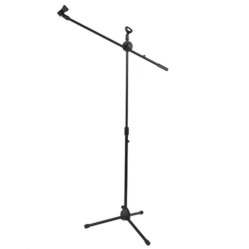 Folding Tripod Boom Microphone Stand in Black