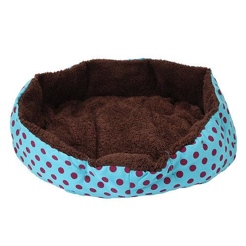 Dot Pattern Cotton Pet Bed in Light Blue