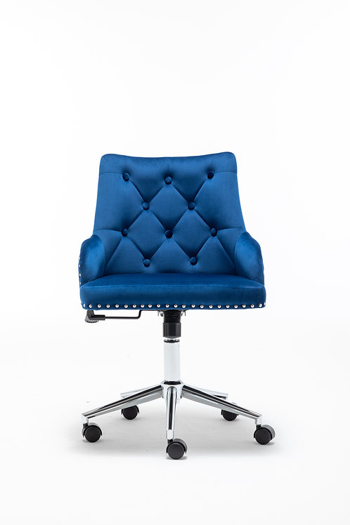 Modern High Back Office Chair with Pull Ring in Blue
