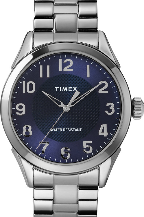 Timex Men's Briarwood 40mm Silver-Tone/Blue Stainless Steel Expansion
