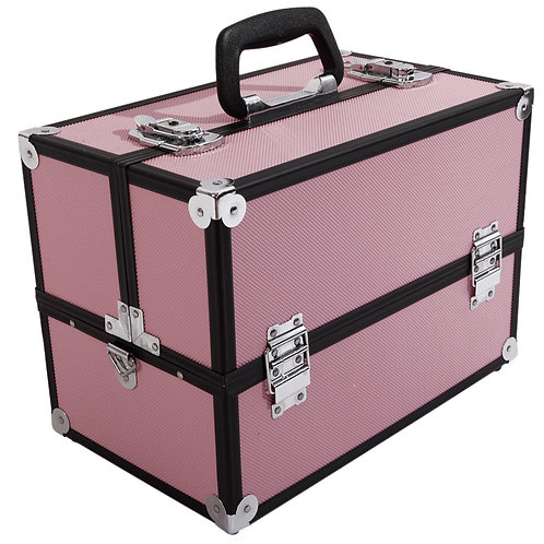 Aluminum Makeup Train Case and Organizer in Pink