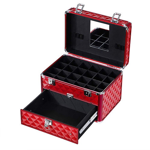 Makeup Train Case with 24 compartments Nail polish storage and 1 Drawer Professi